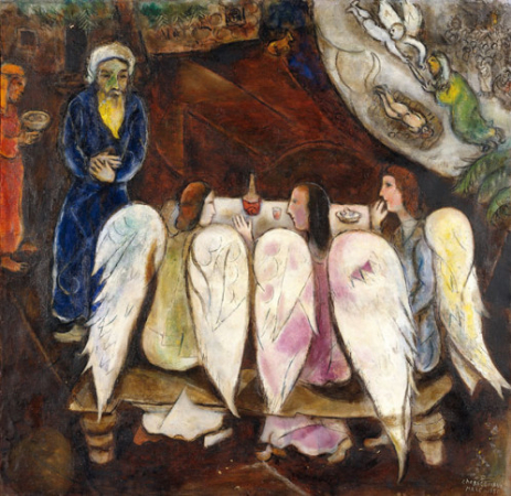 Marc Chagall, Abraham and Three Angels, 1940-50