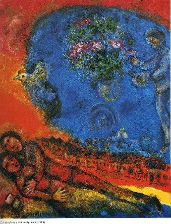 Marc Chagall, Couple On A Red Background, 1983