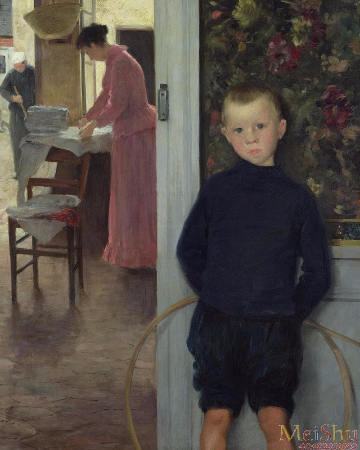 Paul Mathey, Interior With Women And A Child