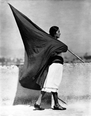 Tina Modotti, Woman With Flag, Mexico City, 1928