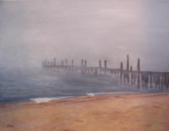 Viola Holmgren, Old Provincetown Pier In Fog