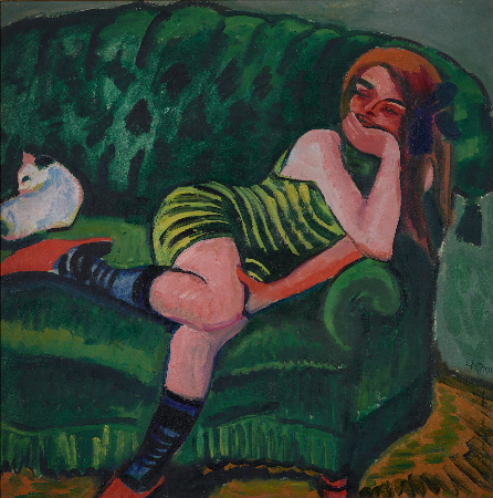 Hermann Max Pechstein, Girl On A Green Sofa With A Cat, 1910