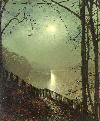 John Atkinson Grimshaw, Moonlight On The Lake, Roundhay Park, Leeds, 1872