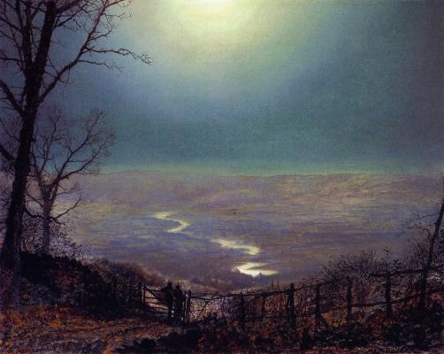 John Atkinson Grimshaw, Moonlight, Wharfedale, 1871