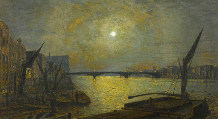 John Atkinson Grimshaw, Southwark Bridge From Blackfriars By Moonlight, 1881