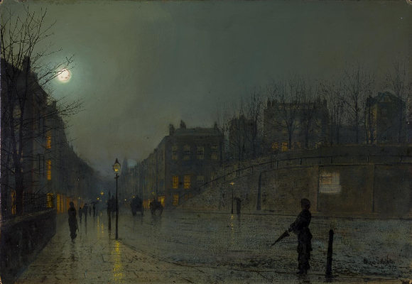 John Atkinson Grimshaw, View of Heath Street By Night, 1882