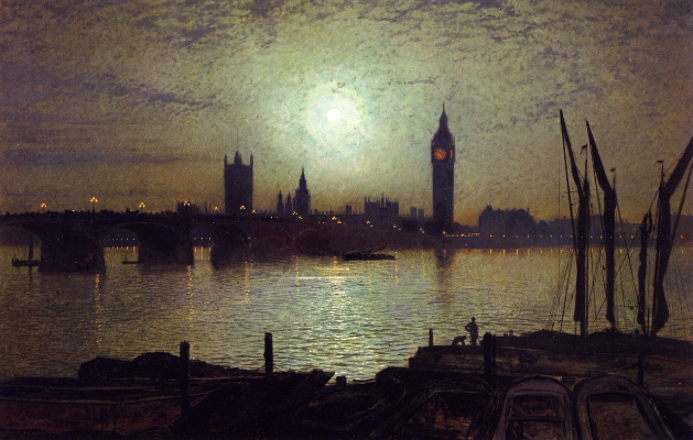John Atkinson Grimshaw, Westminster Bridge By Moonlight, 1880