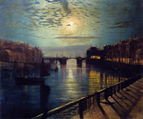 John Atkinson Grimshaw, Whitby Harbour By Moonlight, 1862