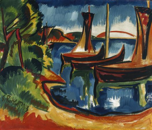 Karl Schmidt-Rottluff, Boote am Wasser, 1913