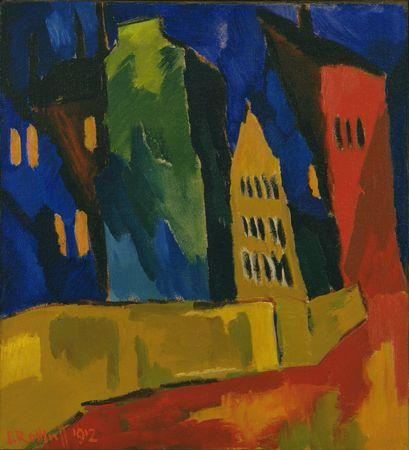 Karl Schmidt-Rottluff, Houses At Night, 1912
