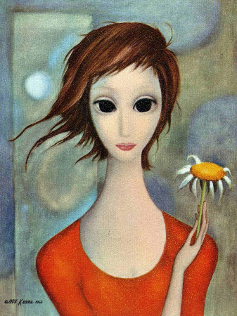 Margaret Keane, The Girl In The Red Dress With Daisy, 1963
