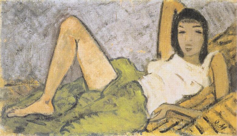 Otto Mueller, Liegendes Madchen, 1914