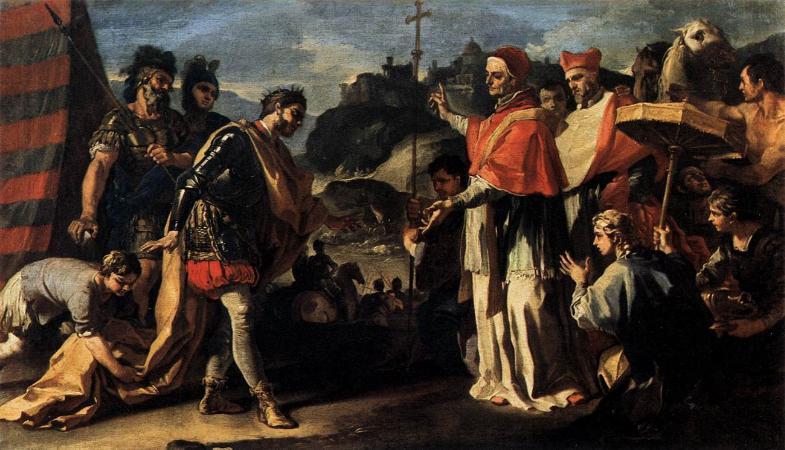 Francesco Solimena, The Meeting of Pope Leo and Attila