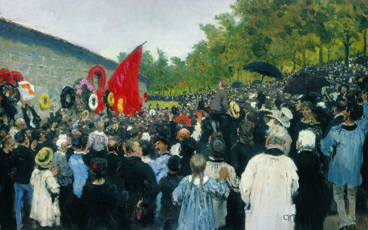 İlya Repin, The Annual Memorial Meeting Near the Wall of the Communards In The Cemetery of Pere Lachaise, 1883