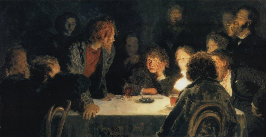 İlya Repin, The Revolutionary Meeting, 1883