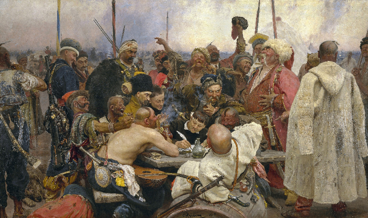 İlya Repin, The Zaporozhye Cossacks Writing a Mocking Letter to the Turkish Sultan, 1880-1891