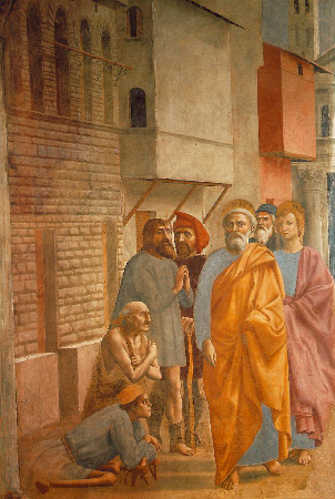 Masaccio, St. Peter Healing The Sick With His Shadow, 1426-27