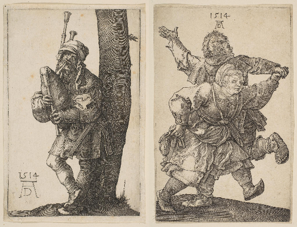 Albrecht Durer, Bagpipes Players, Dancing Peasants, 1514