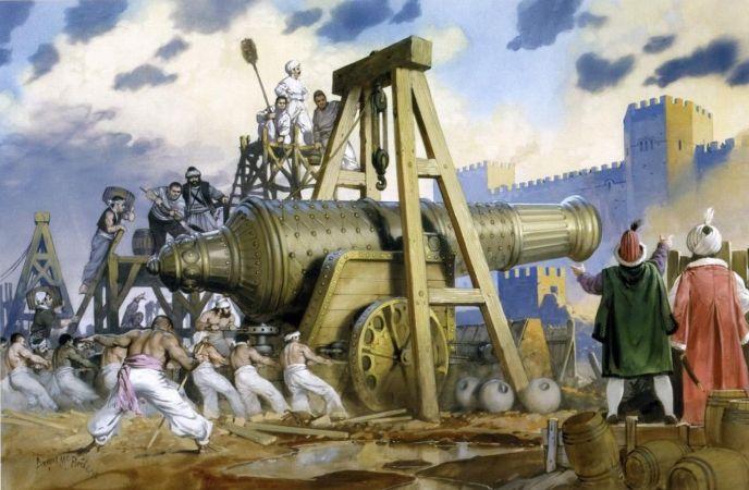 Angus McBride, Représentant un canon géant Ottoman lors du siège de Constantinople, 1453