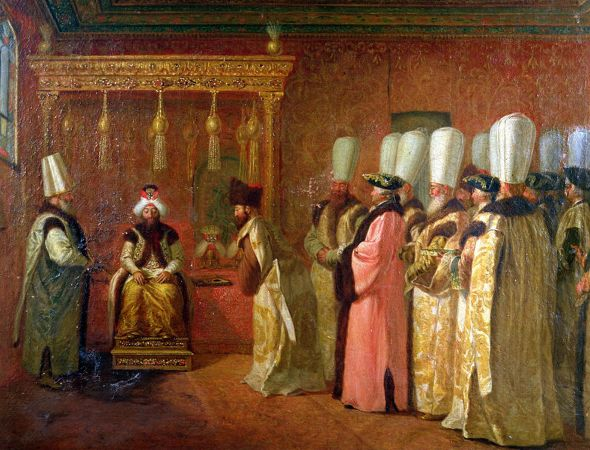 Antoine de Favray, Audience of Charles Gravier-Comte de Vergennes with The Sultan Osman III in Constantinople