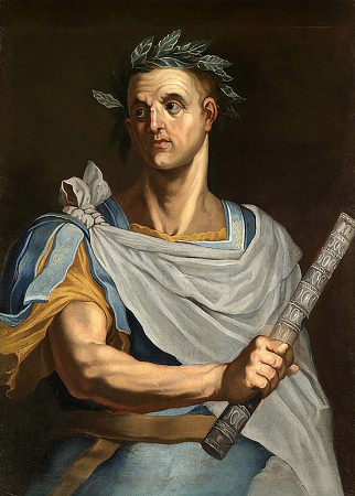 Bernardino Campi, Portrait Of Julius Caesar Half Length Wearing A Laurel Wreath And Holding A Baton