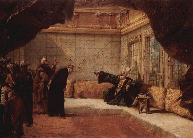 Giovanni Antonio Guardi, Der Sultan empfängt eine Delegation von Würdenträgern, 1743