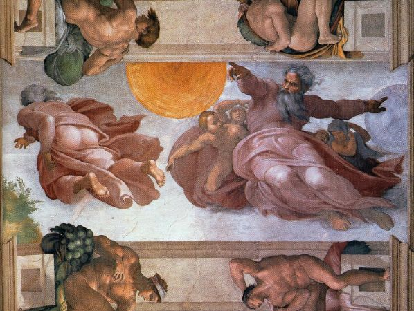 Michelangelo, Sistine Chapel (The Creation of the Sun, Moon and Vegetation), 1508-1512