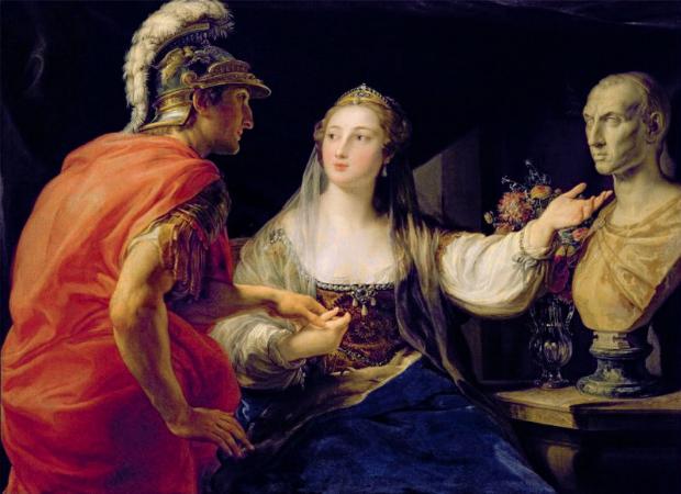 Pompeo Batoni, Cleopatra Showing Octavius The Bust of Julius Caesar