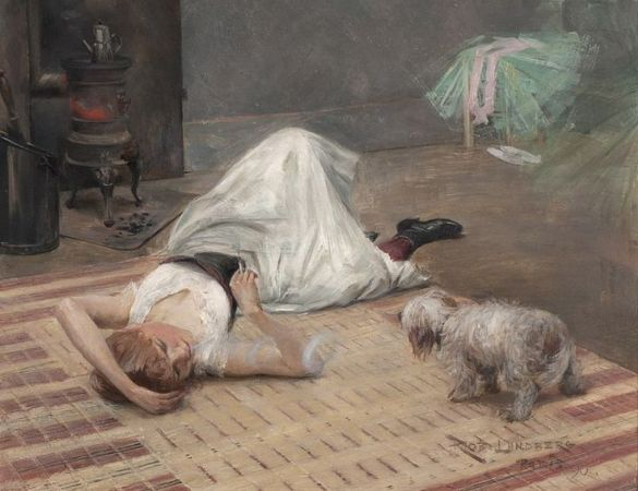 Robert Lundberg, Smoking Model With Dog, 1890