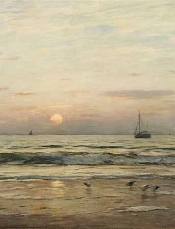 Eugen Gustav Ducker, Coastal Landscape With Sunset, 1911