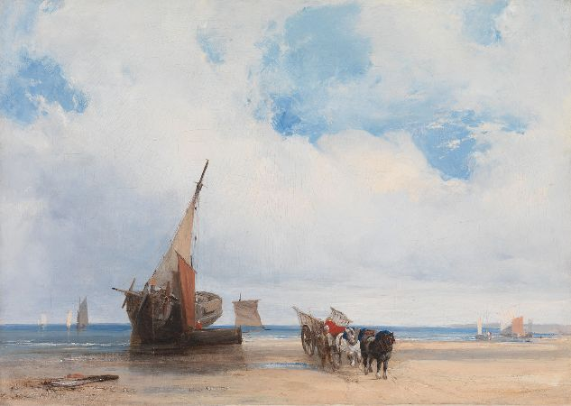 Richard Parkes Bonington, Beached Vessels and A Wagon, Near Trouville, France, 1825
