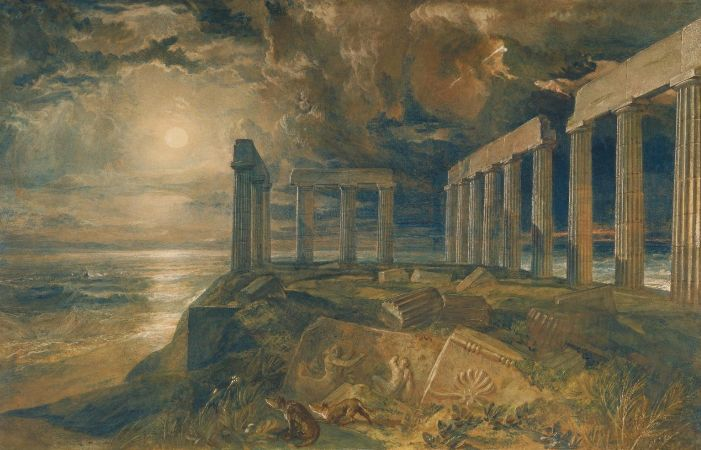 William Turner, The Temple of Poseidon at Sunium (Cape Colonna), 1834