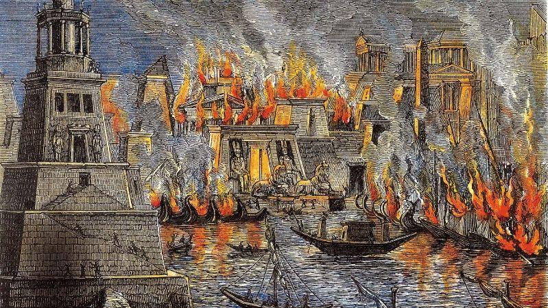 Herman Goll, L'incendie de la bibliothèque d'Alexandrie, 1876