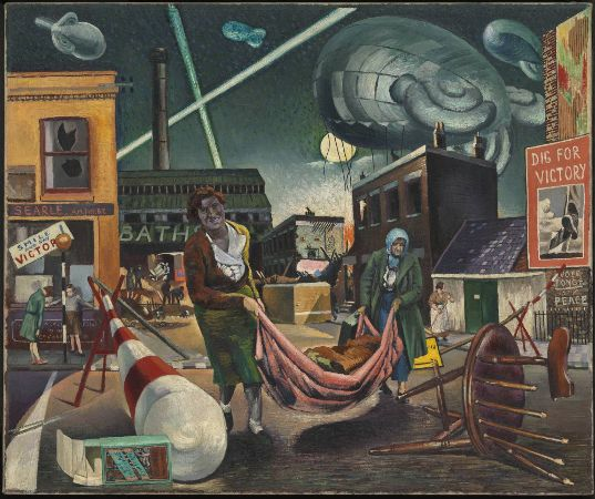 Clive Branson, Bombed Women and Searchlights, 1940