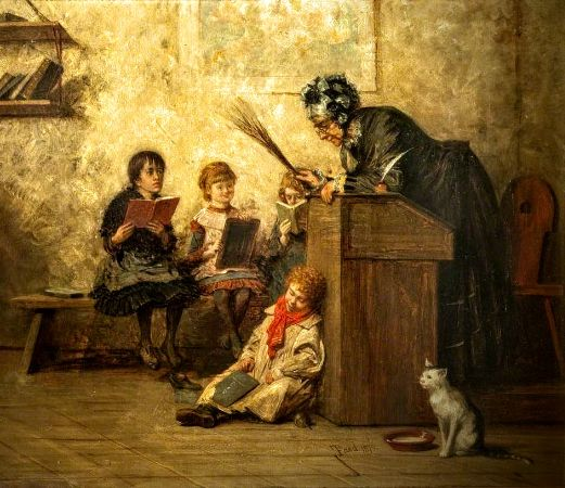 Thomas Faed RA HRSA, The Dame's School, 1879