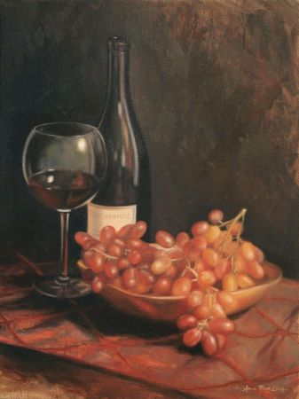 Anna Bain, Still Life With Wine And Grapes