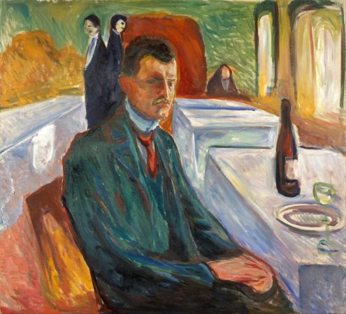 Edvard Munch, Self-portrait with a Bottle of Wine, 1906
