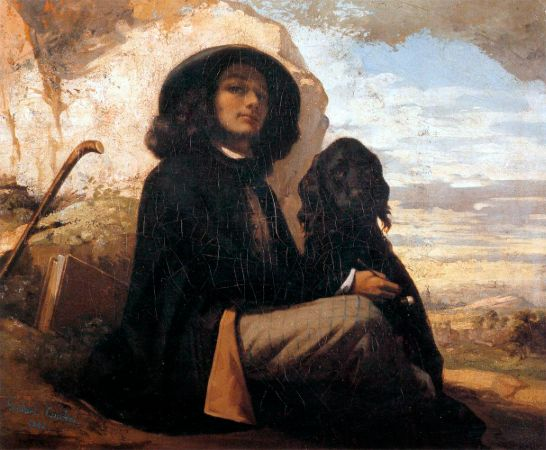 Gustave Courbet, Self Portrait With Black Dog, 1844