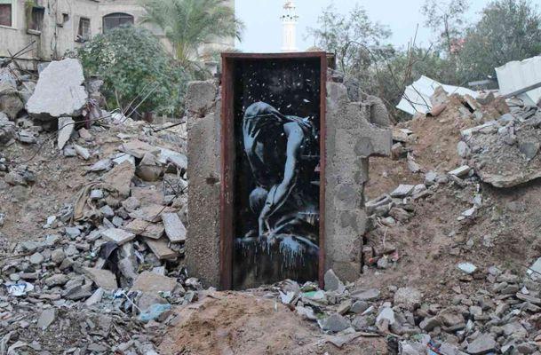 Banksy, Bomb Damage, Gazze, 2015