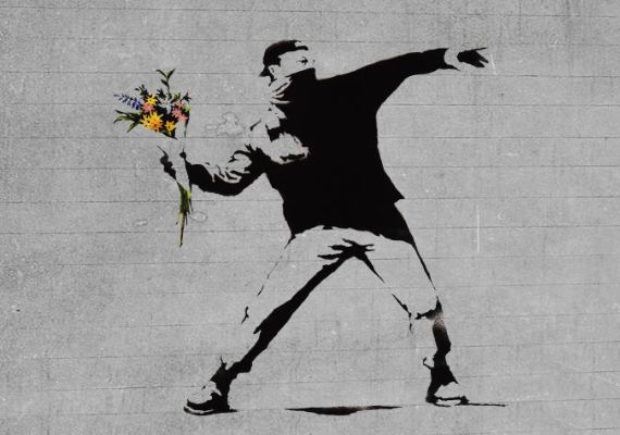 Banksy, Flower Chucker, Kudüs, 2003