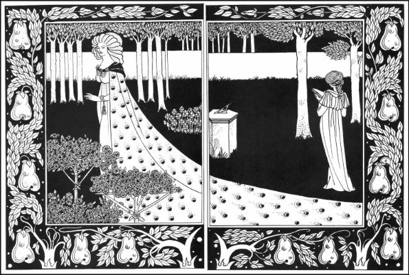 Aubrey Beardsley, La Beale Isoud in the Garden from Le Morte D'Arthur