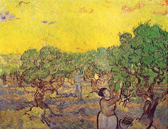 Van Gogh, Olive Grove with Picking Figures, 1889