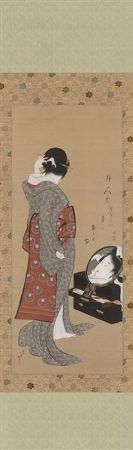 Hokusai, Woman Looking At Herself In A Mirror, 1805