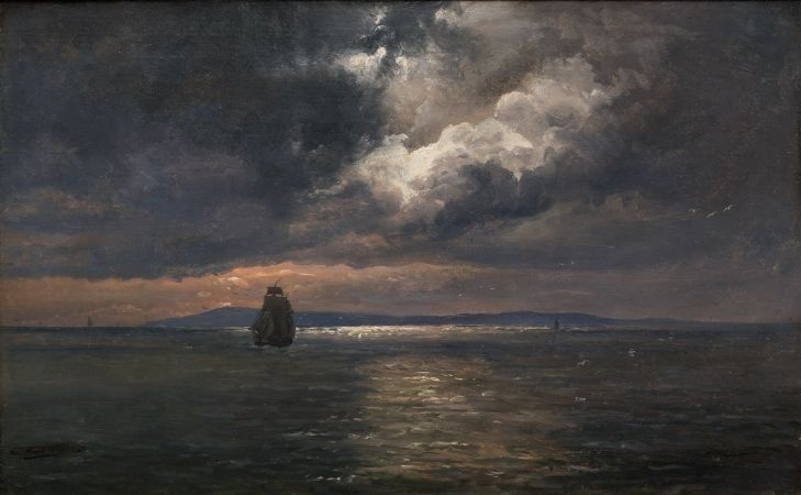 Johan Christian Dahl, Fjord At Sunset, 1850