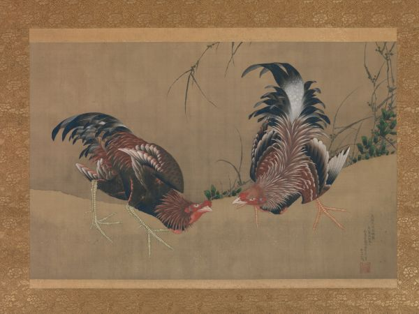 hokusai, Gamecocks, 1838