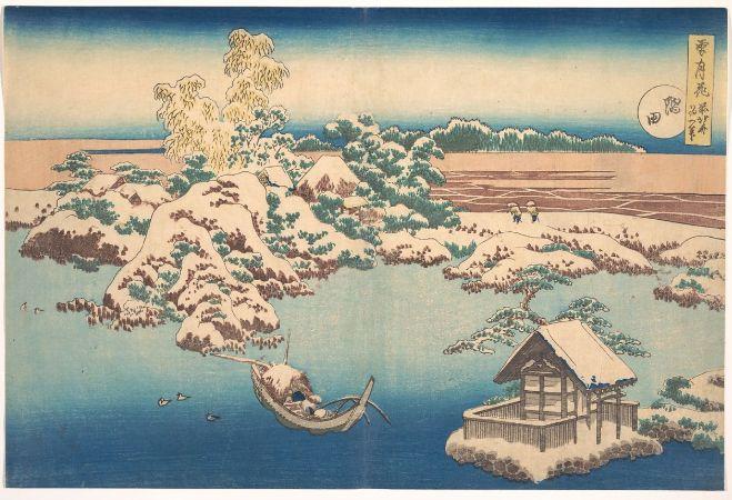 hokusai, Snow On The Sumida River, 1833
