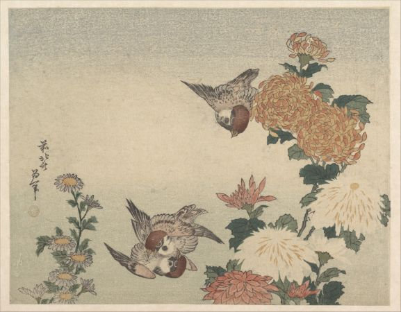 hokusai, Sparrows and Chrysanthemums, 1825