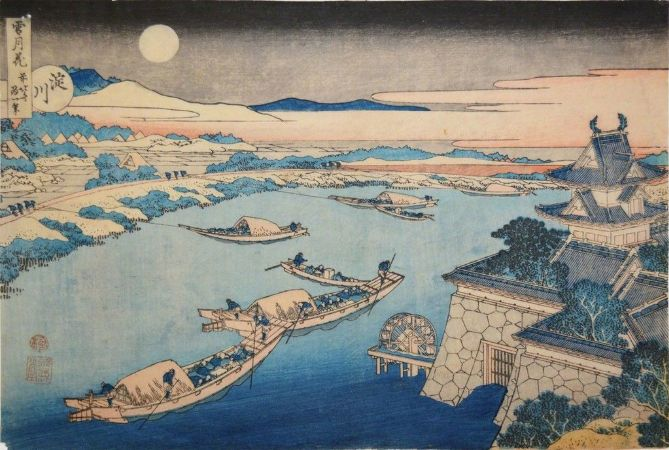 hokusai, Yodo River In Moonlight, 1832