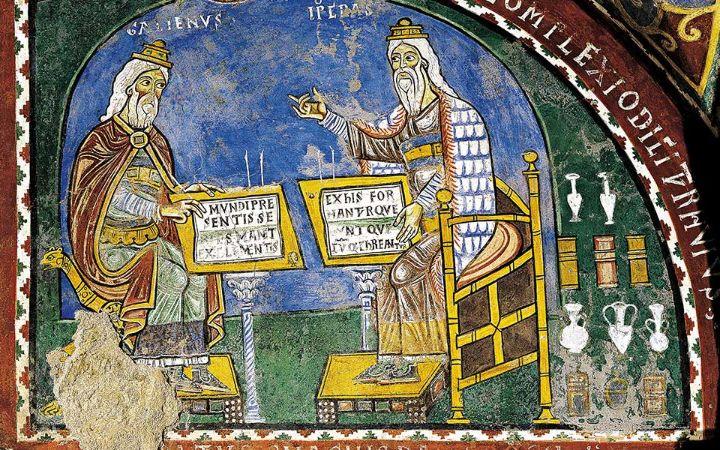 Hipokrat ve Galen; St Mary Katedrali, Anagni, İtalya; mezar içinde fresk, 13. yy (De Agostini Resim Kütüphanesi )