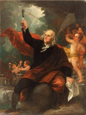 Benjamin West, Benjamin Franklin Drawing Electricity From The Sky, 1816